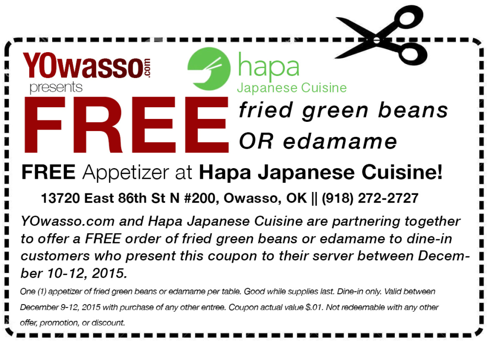 Hapa Japanese Cuisine coupon -- YOwasso.com Exclusive Coupons
